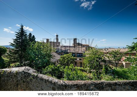 Volterra, Tuscany - May 21, 2017 - View Of The Skyline From The Park Archeological In Volterra
