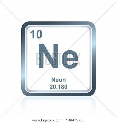 Symbol of chemical element neon as seen on the Periodic Table of the Elements, including atomic number and atomic weight.