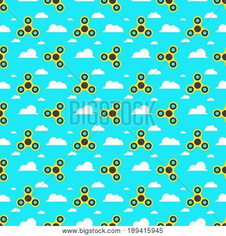 Spinner. A pattern of yellow spinners in a flat style. Spinners are spinning against the sky. Flat white clouds. A modern antistress toy for recreation. Play with your fingers. Vector illustration