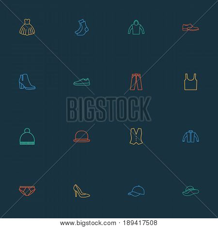 Garment Outline Icons Set. Collection Of Pompom, Hat, Shoe And Other Elements. Also Includes Symbols Such As Gown, Napper, Singlet.