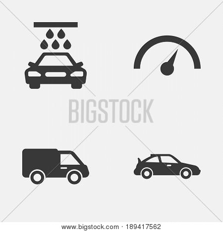 Auto Icons Set. Collection Of Chronometer, Transport Cleaning, Truck And Other Elements. Also Includes Symbols Such As Wash, Crossover, Water.