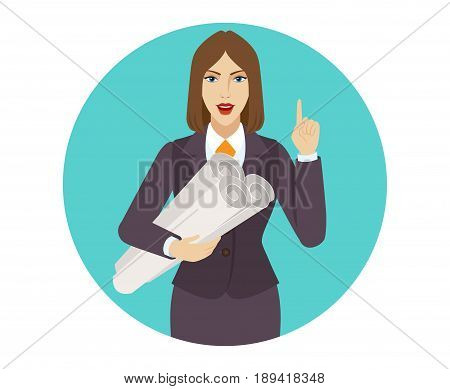 Businesswoman holding the project plans and pointing up. Portrait of businesswoman in a flat style. Vector illustration.