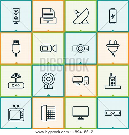 Device Icons Set. Collection Of Universal Serial Bus, Personal Computer, Computer Monitor And Other Elements. Also Includes Symbols Such As Sputnik, Charge, Projector.
