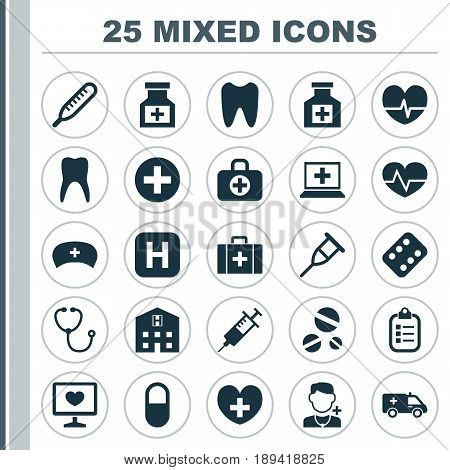 Drug Icons Set. Collection Of Drug, Hospital, Heal And Other Elements. Also Includes Symbols Such As Painkiller, Pulse, Capsule.