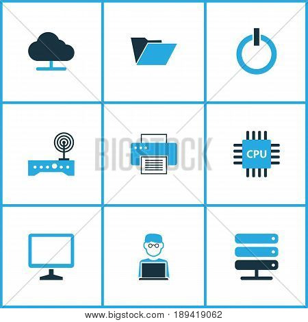 Hardware Colorful Icons Set. Collection Of Display, Network, File And Other Elements. Also Includes Symbols Such As Peripheral, Cpu, Press.