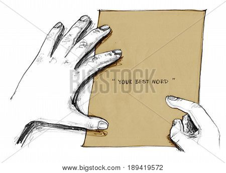 Background finger ponting to paper retro brawn color Concept idea for note or presentation Art is Hand drawn isolate.