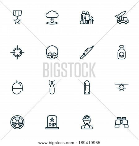 Battle Outline Icons Set. Collection Of Military, Atomic Bomb, Fugitive And Other Elements. Also Includes Symbols Such As Bomb, Dynamite, Gong.