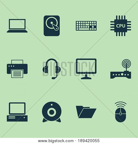 Computer Icons Set. Collection Of Hdd, Dossier, Broadcast And Other Elements. Also Includes Symbols Such As Screen, Cpu, Router.