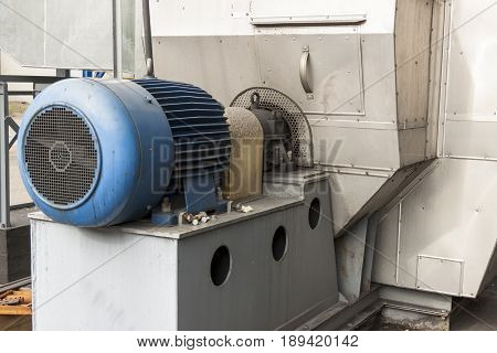 View on Blue engine of fumes ventilator