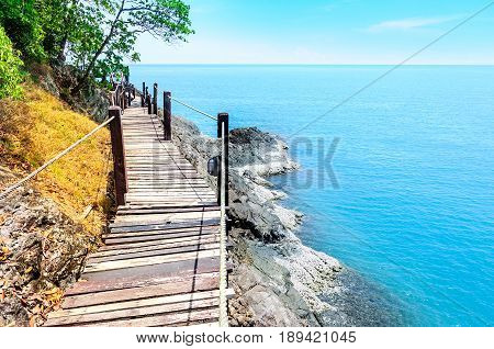 Long wooden bridge pavilion in beautiful tropical island seaview - Koh Chang Trat Thailand