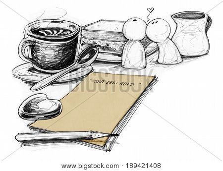 Concept idea coffee break times for some one specail in love felling moment times has paper retro brawn color with flowers pen suger and creamer in pack For note or presentation Art is Hand drawn isolate.
