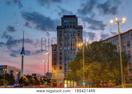 Sunset at the Strausberger Platz in Berlin with the Television Tower
