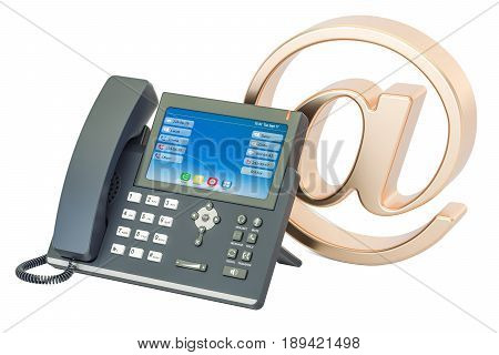 IP Phone with at e-mail symbol. Contacts concept 3D rendering