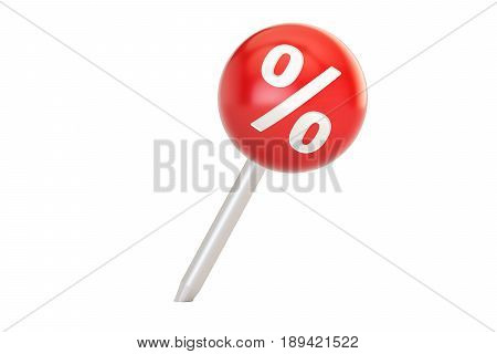 Pushpin with percent sign sale and discount concept. 3D rendering isolated on white background