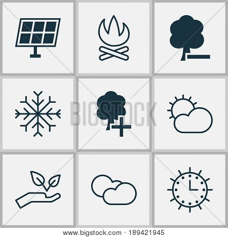 Ecology Icons Set. Collection Of Clear Climate, Insert Woods, Cloud Cumulus And Other Elements. Also Includes Symbols Such As Insert, Nature, Ecology.