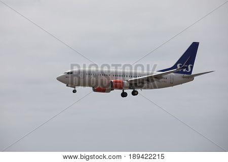Arecife, Spain - April, 15 2017: Boeing 737-700 Of Sas Landing At Lanzarote Airport