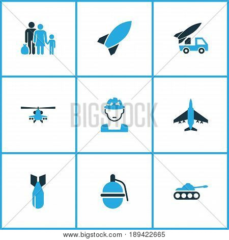 Warfare Colorful Icons Set. Collection Of Grenade, Helicopter, Refugee And Other Elements. Also Includes Symbols Such As Army, Aircraft, Soldier.