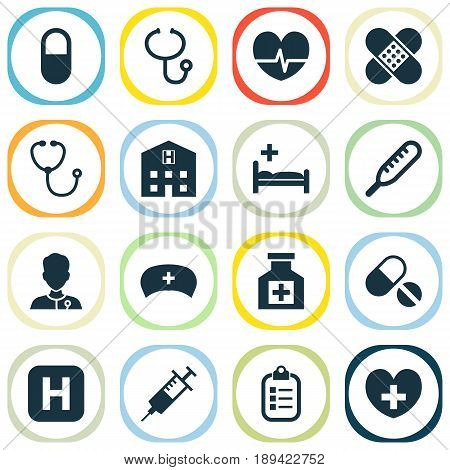 Drug Icons Set. Collection Of Hospital, Pills, Heal And Other Elements. Also Includes Symbols Such As Cap, Record, Rhythm.