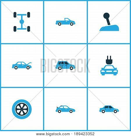 Auto Colorful Icons Set. Collection Of Gear Lever, Crossover, Pickup And Other Elements. Also Includes Symbols Such As Wheel, Hood, Stick.