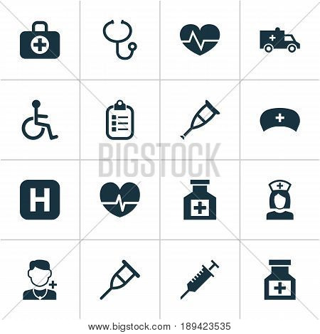 Medicine Icons Set. Collection Of Peck, Beating, Hospital And Other Elements. Also Includes Symbols Such As Bus, Invalid, Stings.