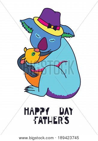 Happy fathers day vector cards with cute animals, Dad and kid koala bears, pop art style