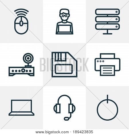 Computer Outline Icons Set. Collection Of Datacenter, Notebook, Printer And Other Elements. Also Includes Symbols Such As Start, Notebook, Button.