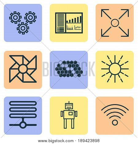 Machine Learning Icons Set. Collection Of Mechanism Parts, Information Base, Controlling Board And Other Elements. Also Includes Symbols Such As Algorithm, Fan, Data.