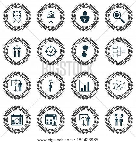 Management Icons Set. Collection Of Co-Working, Project Analysis, Solution Demonstration And Other Elements. Also Includes Symbols Such As Research, Success, Network.