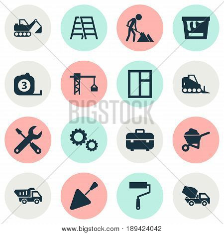 Construction Icons Set. Collection Of Stair, Glass Frame, Spatula And Other Elements. Also Includes Symbols Such As Case, Hook, Spatula.