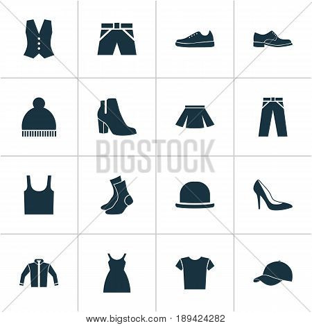 Dress Icons Set. Collection Of Pants, Trunks Cloth, Beanie And Other Elements. Also Includes Symbols Such As Garment, Cloth, Vest.