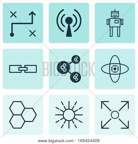Robotics Icons Set. Collection Of Related Information, Cyborg, Solution And Other Elements. Also Includes Symbols Such As Brain, Wi-Fi, Branching.