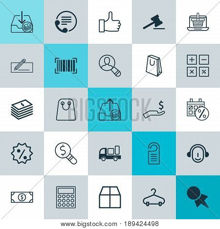 E-Commerce Icons Set. Collection Of Telephone, Rebate Sign , Handbag Elements. Also Includes Symbols Such As Packet, Truck, Inspection.