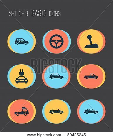Automobile Icons Set. Collection Of Van, Car, Stick And Other Elements. Also Includes Symbols Such As Gear, Plug, Cabriolet.