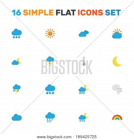 Weather Flat Icons Set. Collection Of Rain, Temperature, Lightning And Other Elements. Also Includes Symbols Such As Drizzles, Variegation, Rain.
