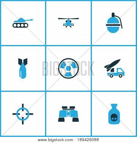 Battle Colorful Icons Set. Collection Of Artillery, Poison, Binoculars And Other Elements. Also Includes Symbols Such As Bomb, Fighter, Dynamite.