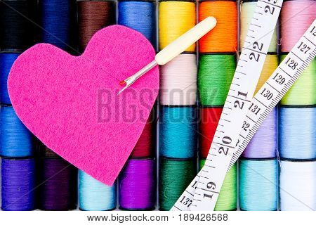 Sewing - Thread - Cotton Reels with pink felt heart, unpicker and tape measure