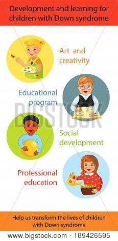Development and learning for children with Down syndrome, Cartoon vector vertical banner, Ability, treatment and charity