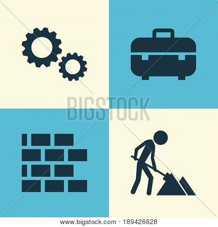 Industry Icons Set. Collection Of Cogwheel, Equipment, Wall And Other Elements. Also Includes Symbols Such As Maintenance, Toolbox, Mechanism.