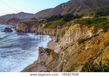 The beautiful cliffs of Big Sur at the Pacific coast after sunset - CALIFORNIA