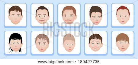 A set of kids head icon collection isolated on white background. Little boys avatars. Children characters profile pictures. Freely editable vector images.