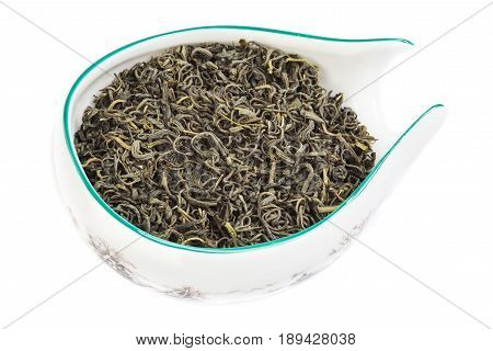 Famous Chinese Tea Varieties isolated on white. Oolong, red tea, white tea