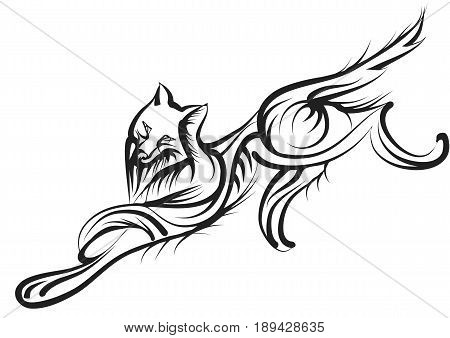 abstract wolf isolated on a white background