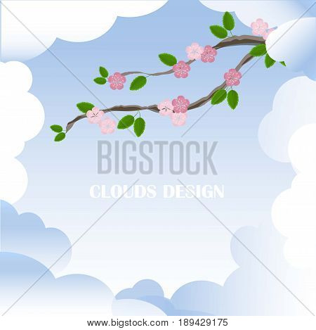 Clouds design blue and white background with blooming branch, pink flowers, green leafs stock vector illustration