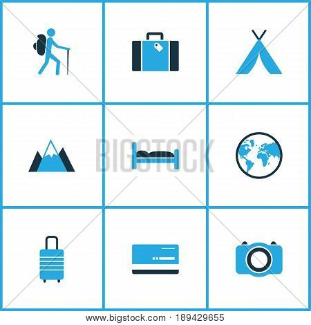 Traveling Colorful Icons Set. Collection Of Baggage, Tourist, Photo Device And Other Elements. Also Includes Symbols Such As Camera, Doss, Earth.