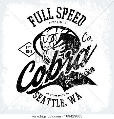 Vintage American furious cobra bikers club tee print vector design isolated on white background.  Seattle street wear mascot t-shirt emblem. Premium quality wild snake superior logo concept illustration.