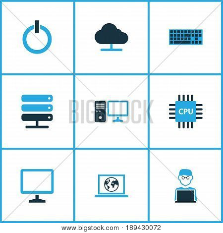 Computer Colorful Icons Set. Collection Of Power, Computer, Laptop And Other Elements. Also Includes Symbols Such As Display, Computer, Internet.