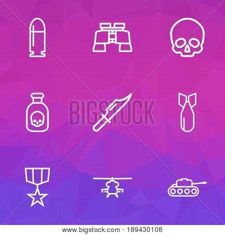 Battle Outline Icons Set. Collection Of Dynamite, Zoom Glasses, Cranium And Other Elements. Also Includes Symbols Such As Medal, Rocket, Hit.