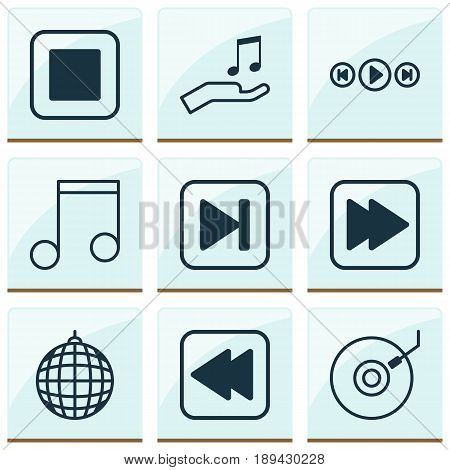 Audio Icons Set. Collection Of Dance Club, Note, Skip Song And Other Elements. Also Includes Symbols Such As Audio, Melody, Music.