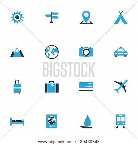 Traveling Colorful Icons Set. Collection Of Train, Sun, Suitcase And Other Elements. Also Includes Symbols Such As View, Bag, Baggage.