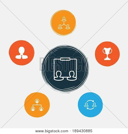 Hr Icons Set. Collection Of Hierarchy, Publicity, Tournament And Other Elements. Also Includes Symbols Such As Profile, Partnership, Cup.
